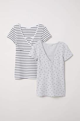 H&M MAMA 2-pack Nursing Tops - Gray/blue striped - Women