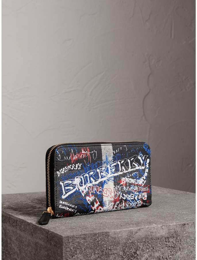 Burberry Doodle Print Coated Canvas Ziparound Wallet