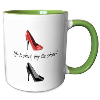 3dRose life is short buy the shoes, picture of shoes, black lettering - Two Tone Green Mug, 11-ounce