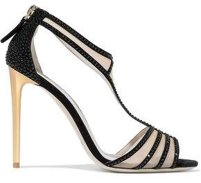 Giorgio Armani Mesh-Paneled Crystal-Embellished Suede Sandals