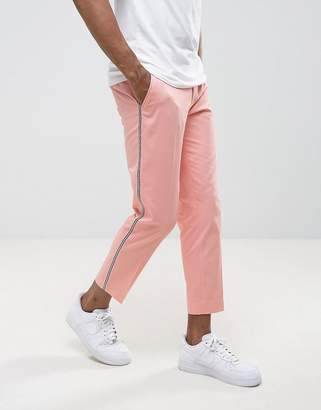 Asos Skinny Smart Pants With Tux Stripe In Pink