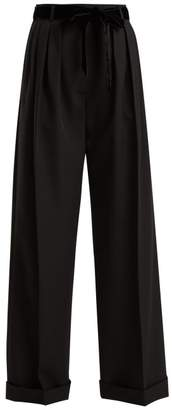 Valentino High Rise Wide Leg Wool Trousers - Womens - Black