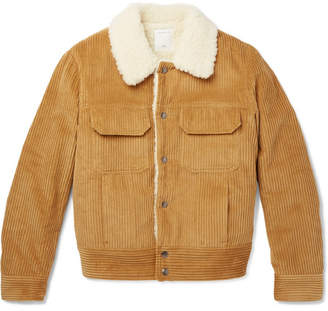 Sandro Faux Shearling-Lined Cotton-Corduroy Jacket