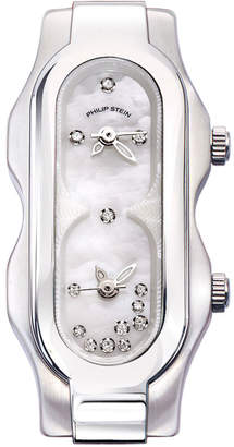 Philip Stein Teslar Stainless Steel Diamond Mini Signature Watch Head, Mother-of-Pearl/White