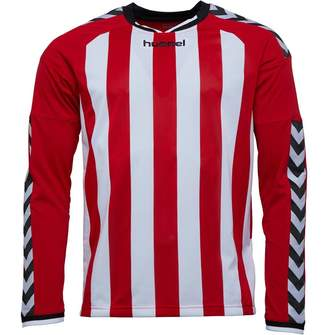 88a42739 Hummel Mens Stay Authentic Striped Long Sleeve Match Jersey True Red/White