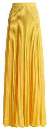 Adriana Degreas - Le Fleur Pleated Crepe Maxi Skirt - Womens - Yellow