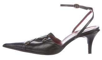 Kenzo Leather Ankle Strap Pumps