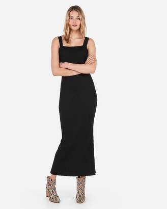 Express Square Modern Rib Sheath Slit Maxi Dress