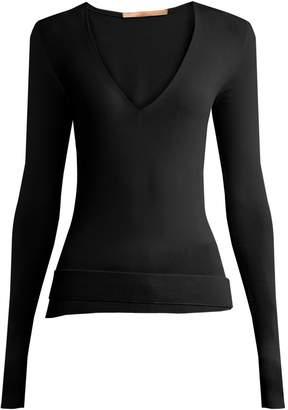SUMMA Deep-V-neck fine-knit sweater