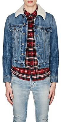 Saint Laurent Men's Shearling-Detailed Denim Jacket
