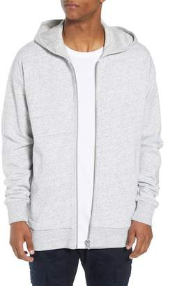 Zanerobe Heathered Front Zip Cotton Hooded Sweatshirt