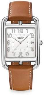Hermes Cape Cod Stainless Steel& Leather Strap Watch