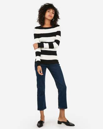 Express Fitted Striped Crew Neck Sweater