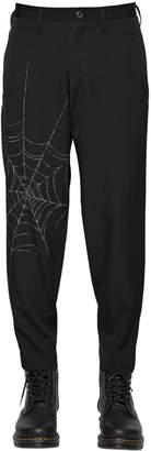 Yohji Yamamoto Spider Web Printed Wool Gabardine Pants