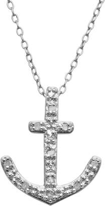 Sterling Silver 1/10-ct. T.W. Diamond Anchor Pendant