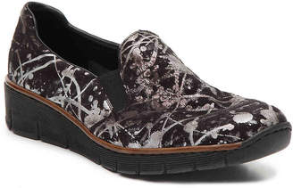 Rieker Doris 66 Wedge Slip-On -Black/Silver Metallic - Women's