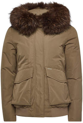 Woolrich Military Bomber Down Jacket with Fur-Trimmed Hood