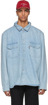 Vetements Blue Levis Edition Open Back Denim Shirt