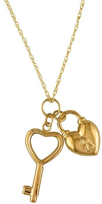 10k Gold-Over-Silver Key & Heart Charm Necklace