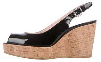 Stuart Weitzman Patent Leather Slingback Wedge Sandals