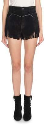 Saint Laurent Suede Shorts with Fringe Hem & Studs