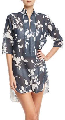 lila.eugenie Empress Floral-Print Cotton Gauze Shirtdress Coverup