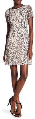 Kensie Floral Crochet Lace Crew Neck Dress