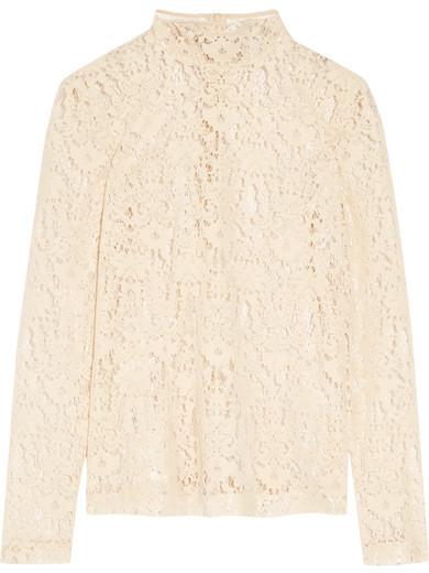 DKNY - Flocked Lace Top - Cream