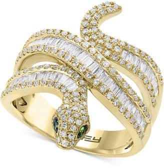 Effy Diamond (9/10 ct. t.w.) & Tsavorite Accent Snake Ring in 14k Gold