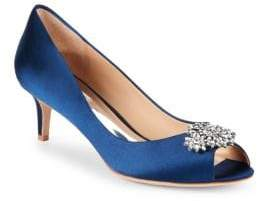 Badgley Mischka Nakita Embellished Satin Pumps