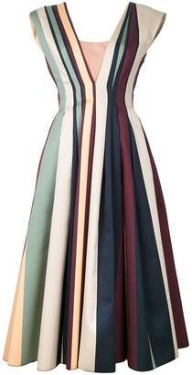 Paule Ka striped pleated dress