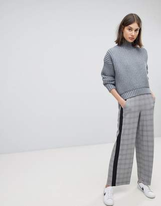 Moss Copenhagen Tailored Pants With Side Stripe In Check