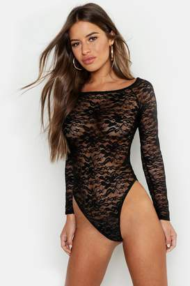 boohoo Petite Lace Bardot Bodysuit