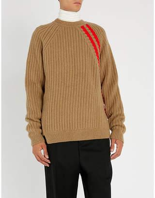 Jil Sander Striped-detail ribbed wool-blend jumper