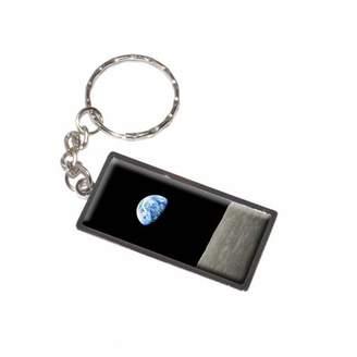 Generic Earth Rising Over Lunar Moon Surface Horizon Keychain Key Chain Ring