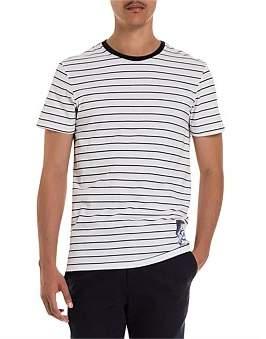 R & E RE: Badge Print Stripe Cotton T-Shirt