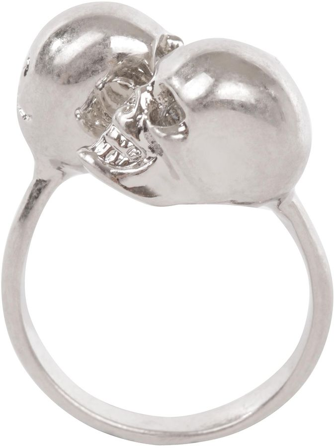 Silver/Grey-Crystal Twin Skull Ring
