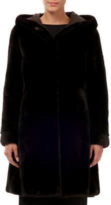 Gorski Hooded Mink-Fur & Silk Taffeta Reversible Stroller Coat