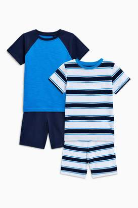Next Boys Blue Sporty Short Pyjamas Two Pack (3-16yrs)