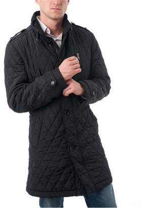 Verno Men's Black Polyester Quilted Car Coat