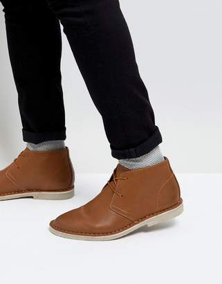 Asos DESIGN Desert Boots In Tan Faux Leather