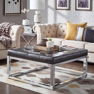 Weston Home Libby Dimpled Tufted Cushion Ottoman Coffee Table with Chrome Metal Straight Base, Multiple Colors