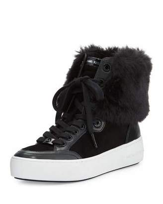 MICHAEL Michael Kors Poppy Faux-Fur High-Top Sneaker, Black $195 thestylecure.com