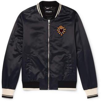 Dolce & Gabbana Sacred Heart Embroidered Nylon Bomber Jacket