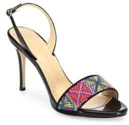 49c1511f3512 Giuseppe Zanotti Swarovski Crystal Accented Patent Leather Slingback Sandals