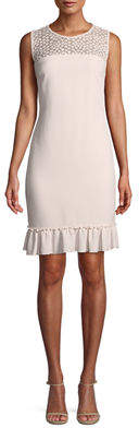 Karl Lagerfeld Paris Sleeveless Crochet-Yoke Sheath Dress