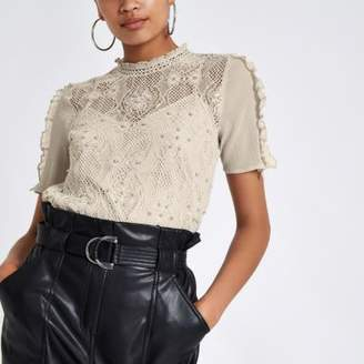 River Island Grey lace beaded high neck top