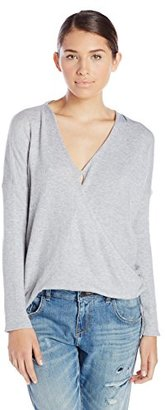 En Creme Women's Long Sleeve Overlap Sweater Top $36 thestylecure.com