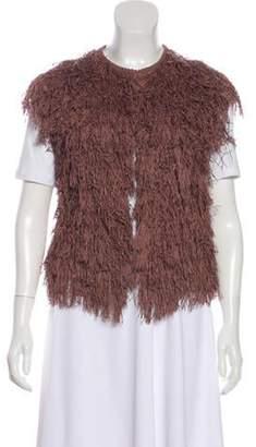 Brunello Cucinelli Fringe-Trimmed Collarless Vest mauve Fringe-Trimmed Collarless Vest