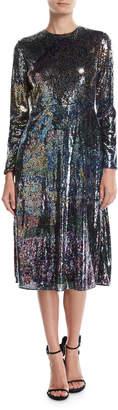 Mary Katrantzou Long-Sleeve Multicolor-Sequin Cocktail Dress